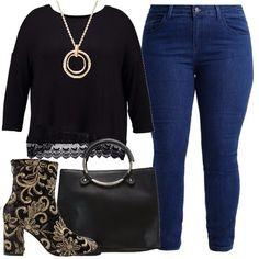 Jeans slim fit color blu medio abbinati a maglia nera con maniche a 3/4 con pizzo sul fondo. Completano il look gli stivaletti neri con ricami oro e con tacco largo, la collana dorata e la borsa a tracolla in ecopelle nera.