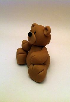 Fondant Teddy Bear Cake Topper Beautiful Cake Decoration Great cake idea for Christening and baby's first birthday. $16.00, via Etsy.