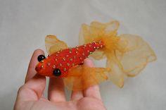 Goldfish soft sculpture, handmade fabric fish, art doll, orange gold