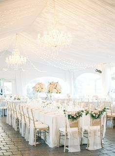 A gorgeous all-white reception: http://www.stylemepretty.com/2016/06/20/steal-the-look-morgan-stewarts-glam-all-white-wedding/