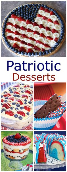 And Easy of July Desserts A collection of fun, festive and EASY patriotic desserts for your summer get togethers, picnics and parties!A collection of fun, festive and EASY patriotic desserts for your summer get togethers, picnics and parties! Patriotic Desserts, 4th Of July Desserts, Fourth Of July Food, Birthday Desserts, 4th Of July Party, Holiday Desserts, Holiday Baking, Holiday Treats, Easy Desserts