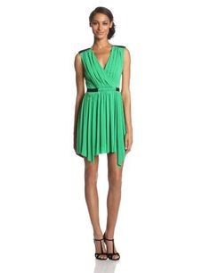 BCBGMAXAZRIA Womens Olyvia Faux Wrap Fit and Flare Dress Light Evergreen Combo 8 * More info could be found at the image url.