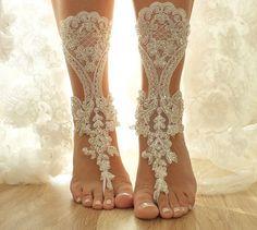 free ship, Ivory bridal anklet, ivory Beach wedding barefoot sandals, bangle, wedding anklet, , anklet, hand-embroidered