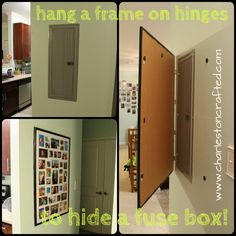 How to Hide a Fuse Box By Hanging a Frame on Hinges - Charleston Crafted - THIS is what I need to do for our fuse box!