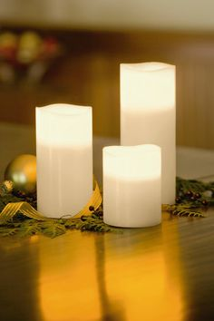Triple LED Pillar Candles, Set of 3