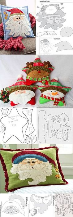patterns for making christmas pillows - Oscar Wallin Felt Christmas Decorations, Felt Christmas Ornaments, Christmas Stockings, Christmas Sewing, Christmas Fabric, Christmas Crafts, Diy Arts And Crafts, Felt Crafts, Crafts For Kids