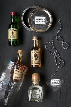 Mason Jar Minibar Groomsmen Gift: Booze is always a great gift. But it doesn't get much better (or cuter) than a tiny minibar in a jar.