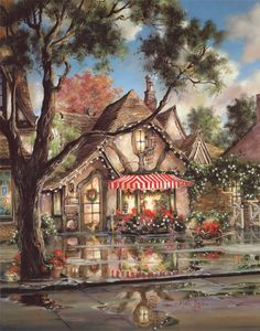 """Tuck Box Tea Room at Christmas, """"Carmel by the Sea"""" collection, Marty Bell"""