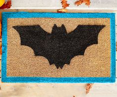 DIY Bat doormat. Really, you can and SHOULD do this! Halloween Bat & Boo Ball Theme Party Decorations & Ideas
