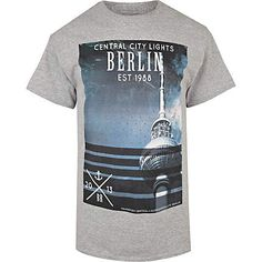 Grey Berlin city lights print t-shirt £16.00