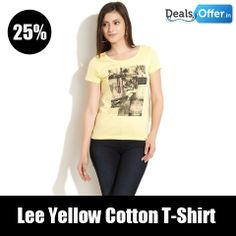 Lee Yellow Cotton T-Shirt @ 25% Off