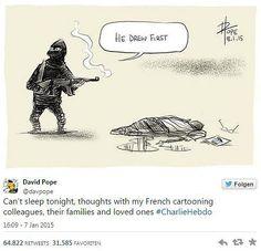"""So reagieren Zeichner aus aller Welt auf den Tod ihrer Kollegen beim Satiremagazin Charlie Hebdo"""":  """"Er hat zuerst gezeichnet"""". David Pope schreibt: """"Ich kann heute Nacht nicht schlafen. In Gedanken bin ich bei meinen französischen Kollegen, deren Familien und Angehörigen."""" Mehr dazu hier: http://www.nachrichten.at/nachrichten/weltspiegel/Charlie-Hebdo-als-Zeitschrift-der-Ueberlebenden;art17,1598439 (Bild: David Pope)"""