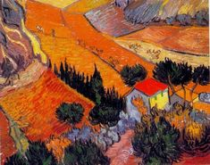 Valley with Ploughman Seen from Above, Artist: Vincent van Gogh, Post Impressionism, oil painting reproductions Vincent Van Gogh, Art Van, Van Gogh Landscapes, Landscape Paintings, Colorful Paintings, Beautiful Paintings, Monet, Van Gogh Arte, Van Gogh Pinturas
