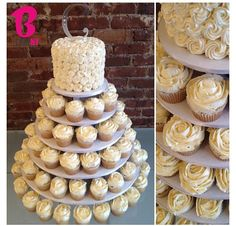 Crazy about the idea of having a cupcake wedding cake since cupcakes are my favorite thing in the entire world!