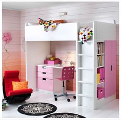 Loft bed (that could be in a black/white room)