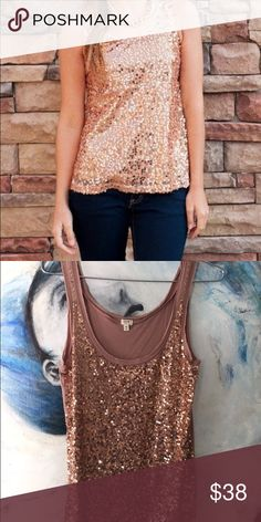 { J.Crew } sequins in rose gold tank top A day to night solution this slim fitting tank equally goes from trendy  jeans to flirty skirts! Perfect party tank! 100% cotton. Excellent condition J. Crew Tops Tank Tops