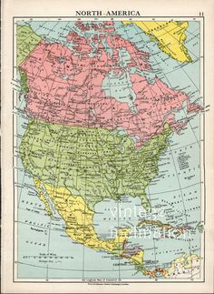 Antique Map of NORTH AMERICA by KnickofTime map it out Pinterest