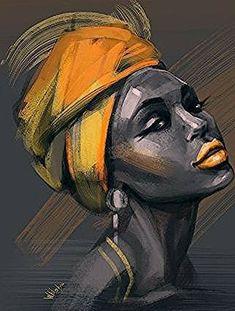 Art Photography Portrait, Portrait Art, Portrait Paintings, Portraits, Black Art Painting, Oil Painting On Canvas, Afro Painting, Black Girl Art, Art Girl