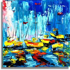 Unikat Bilder Gemälde Kunst Abstrakt Neu Leinwand Hafen Bot Nr. 406