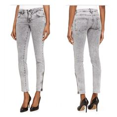 """Stella McCartney Acid Wash Jeans in Grey Size 28. Like new condition. 30"""" inseam. Details: Low rise. Continental front pockets; back patch pockets. Skinny-fit legs cropped above ankle. Side zips at ankle. Button/zip fly with belt loops. Cotton/spandex. Made in Italy Stella McCartney Jeans Skinny"""