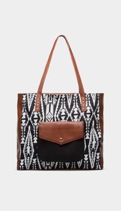 Black, White and Brown Shoulder Bag
