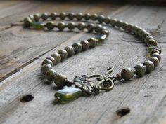 Brass and Glass Necklace Czech Glass Necklace by ksyardbird