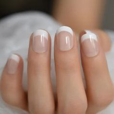 Summer Short Natural Nude White French Nail Tips False Fake Nails UV Gel Press on Ultra Easy Wear for Home Office,French nail, ombre nail - French short nail Colored Nail Tips French, White French Nails, French Tip Acrylic Nails, White Tip Nails, French Manicure Nails, Short French Nails, Colorful French Manicure, Gel Nails With Tips, French Manicure With A Twist