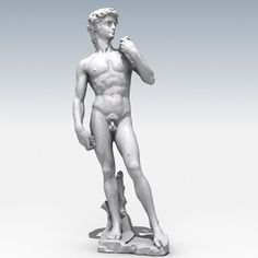 Detailed 3d model of David by Michelangelo     Extremely high polygon model. Perfect for high resolution renders, 3D crystal subsurface engraving, 3D printing etc.   Previews were rendered with Vray.