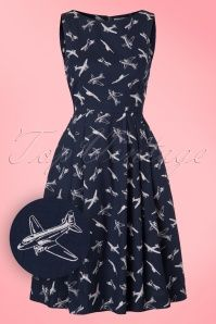 50s Penny Come Fly With Me Dress in Navy