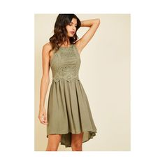 Boho Mid-length Sleeveless A-line Cider Insider A-Line Dress ($65) ❤ liked on Polyvore featuring dresses, apparel, fashion dress, green, brown dresses, boho chic dresses, boho dresses, a-line dresses and hi low dress