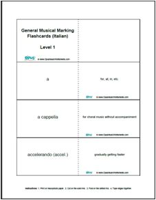 Free Printable Music Flashcards including General Musical Markings (Italian), Music Note Names and Tempo Markings (Italian),  OpusMusicWorksheets.com