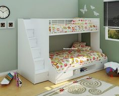 White Double Bunk Bed With Storage Stairs - New 4ft & 3ft Triple Kids Bunk Beds