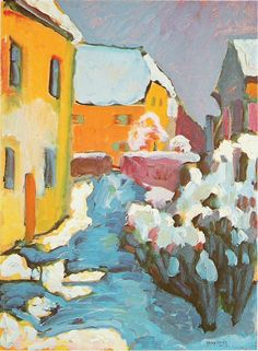 Kandinsky (Russian-born) - he is one of my favorites - I love this painting although this doesn't look like one of his as his work is more geometric and has no realism. Paintings I Love, Beautiful Paintings, Art Paintings, Kandinsky Art, Wassily Kandinsky Paintings, Winter Painting, Building Art, Art Moderne, Art Abstrait