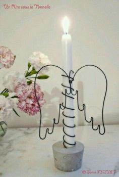 Cement Candle Holder with Wire Angel Wings on Candle
