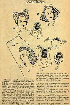 scarf tricks for a vintage look -Vintage Hair Tutorial Diy Vintage, Look Vintage, Vintage Beauty, Vintage Sewing, Vintage Games, Wedding Vintage, 1940s Fashion, Look Fashion, Vintage Fashion