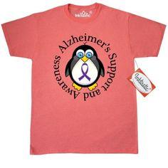 Inktastic Alzheimers Awareness Penguin T-Shirt Disease Support Purple Ribbon Walk Research Dementia Design Logo Mens Adult Clothing Apparel Tees T-shirts Hws, Size: XXXL, Grey