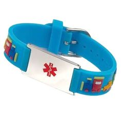 Teal Medical Symbol Personalized Thin Kids Medical Alert ID Paracord Bracelet w Stainless Steel Engraved ID Tag