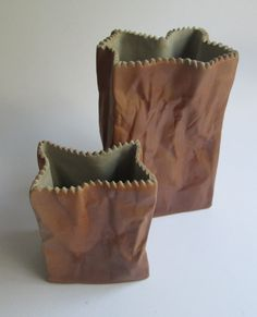 Two paper bag vases, designed 1977 by the Finnish designer Tapio Wirkkala for Rosenthal Studio Line Germany. The price is per by SCALDESIGN on Etsy The Paper Bag, Desk Organization, Paper Size, Flower Vases, Colorful Interiors, Stoneware, Interior Decorating, Germany, Porcelain