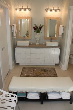 121 best Bath images on Pinterest   Bathroom ideas  Bathrooms decor     This bathroom renovation includes a HomeGoods bench  towels and accessories   These pieces added the