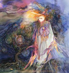 Celtic Goddess,  Saint Brighid Walking the Land  via Etsy.