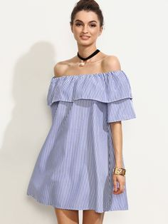Shop Blue Striped Off The Shoulder Ruffle Dress online. SheIn offers Blue Striped Off The Shoulder Ruffle Dress & more to fit your fashionable needs. Stylish Dresses, Simple Dresses, Sexy Dresses, Fashion Dresses, Short African Dresses, Short Dresses, Vestido Off Shoulder, Latest Dress, Maternity Dresses