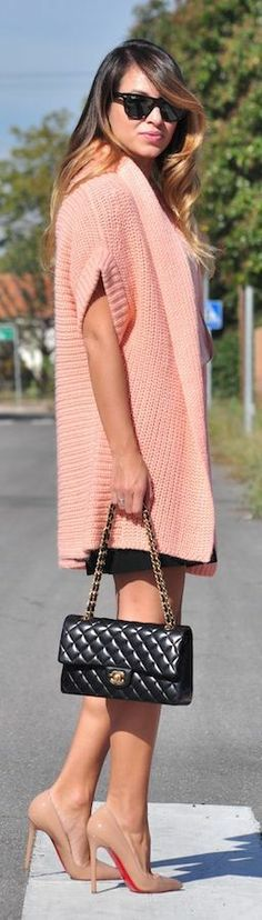 Pink coat with nude #louboutin pump @HeeledShoes