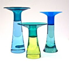 These three two-toned 1960s Murano glass candlesticks are by Antonio Daros for Cenedese.