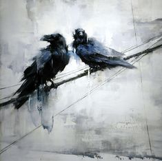 Two Visitors, 28 x 28 inch oil on panel by Lindsey Kustusch Art Crow Art, Raven Art, Bird Art, Crow Painting, Arte Horror, Bird Pictures, Watercolor Bird, Wildlife Art, Crows Ravens