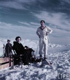 Shah of Iran and his wife Queen Soraya on a Ski Trip.