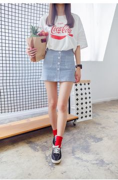 Korean fashion a skirt korean/kpop fashion fashion, korean f Korean Fashion Summer Casual, Korean Fashion Casual, Korean Fashion Trends, Korean Street Fashion, Ulzzang Fashion, Asian Fashion, Korean Summer Outfits, Fashion Guys, Kpop Fashion