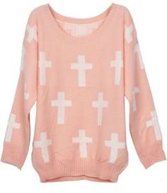 To find out about the Pink Round Neck and White Cross Pattern Jumper Sweater at SHEIN, part of our latest Sweaters ready to shop online today! Pastel Punk, Pastel Goth Fashion, Pastel Grunge, Cute Fashion, Womens Fashion, Fashion Ideas, Girly, White Crosses, Cross Patterns