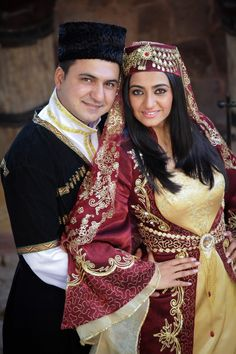 Traditional festive costumes from Azerbaijan. Clothing style: early 20th century.