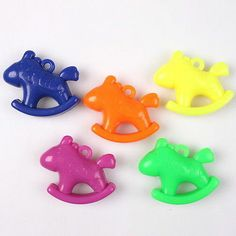 4x 100561 Charms Acrylic Colorful Cute Hobbyhorse Pendants Fit Crafts DIY