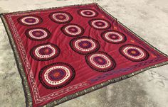 7.6 * 7.1 - Big SQUARE Table Cover - Handmade Suzani Blanket - Antique Table Cloth - Wall HANGING - Vintage Suzani Fabric - Bedspread Suzani by istanbulcarpet on Etsy